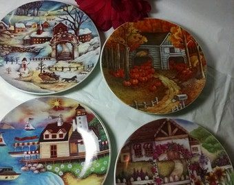 Set of FOUR SEASONS PLATES Winter Spring Summer and Fall Decorative Vintage Lovely!