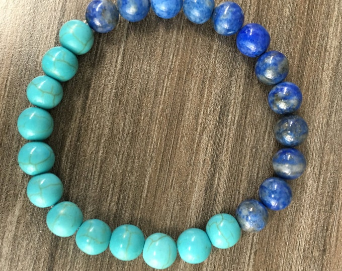 8mm Turquoise Howlite & Lapis Lazuli Bracelet Healing Crystal Natural Stone Healing Jewelry Positive energy