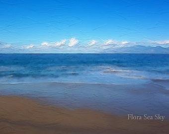Maui Beach Photo, 5x7, Hawaiian Beach Photo, Sea and Sky Photo