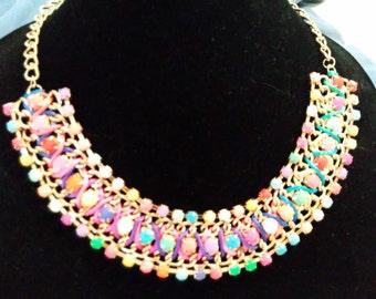 Gold Tone with multi color bib necklace