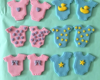 Baby Girl/Boy Onesie Cake/Cupcake Toppers