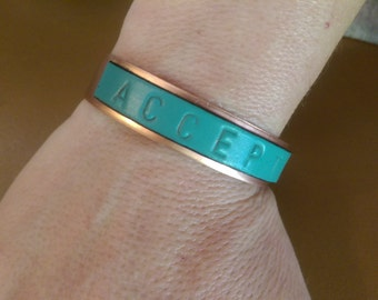 "Copper and Leather Bracelet ""Accept"""