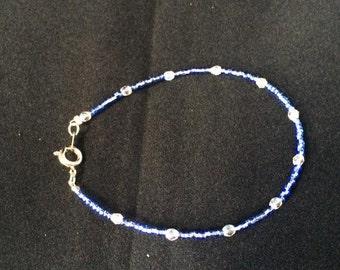 Blue Glass and Crystal Beaded Bracelet