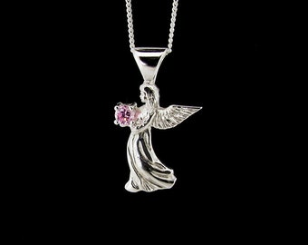 Sterling Silver Angel Pendant with Pink Cubic Zirconia