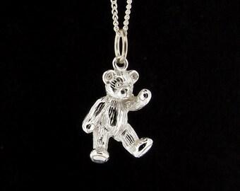 Sterling Silver Children's Teddy Bear Pendant & Chain