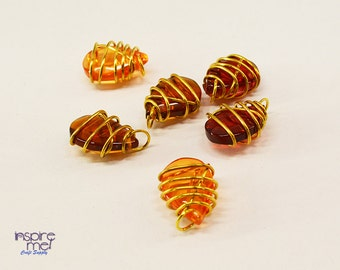Wire Wrapped Autumn Crystal Charms - Set of 6, Gold Wrapped Crystals, Autumn Jewelry, Fall Jewelry, Halloween, Thanksgiving, Fall Earrings
