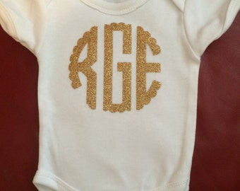 Scalloped circle monnogram onesie