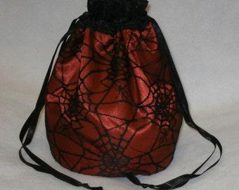 Red Satin & Black Gothic Spider Web Lace Dolly Bag Evening Handbag / Purse Prom Halloween Costume