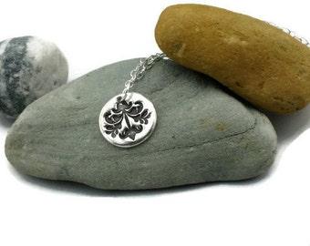 Silver flourish necklace - flourish pendant - silver pendant - sterling silver necklace - silver jewelry - necklace - womens necklace - gift