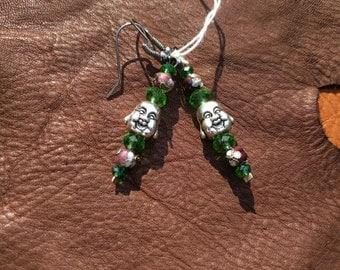 Laughing Buddha green & purple earrings