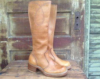 Vintage Brown Knee High boots 70s' ~Bort Carleton~