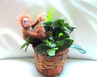 Felted monkey plant stake/wool orangutang toy/pot decor/monkey flower stake