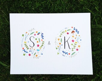 A3 Hand painted initials with flowers