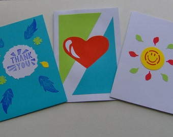 Set of 3 cards, Greeting love cards set, greeting cards, love greeting cards, thank you cards, smile cards, heart cards boyfriend cards cute