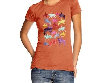 Women's Dressage Rainbow Collage T-Shirt
