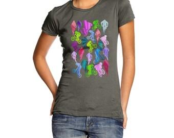 Women's Bmx Rainbow Collage T-Shirt