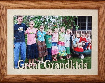 5x7 JUMBO ~ GREAT GRANDKIDS Photo Frame ~ Holds a 5x7 Photo ~ Gift for Great Grandma, Great Grandpa or Great Grandparents Great Grandkids!