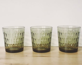 Set of 3 green glass tumblers by ARC France
