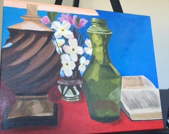 Quiet Time, book on table painting, lamp painting, flowers paining, jar waiting, still life art