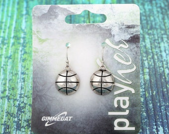 Basketball Dangle Earrings, Silvertoned - Great Basketball Gift! Free Shipping!
