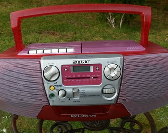 Vintage Hot Pink Sony Boom Box CFD-V177
