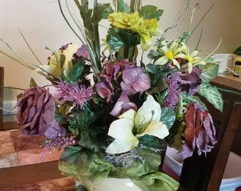 Muted purple and green arrangement