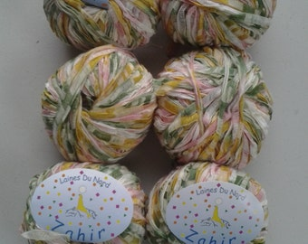 "Laines /Du Nord ""Zahir"" novelty fashion yarn, shades of butter yellow, green and pink"