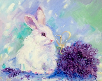 Bunny painting, Rabbit painting,  Lavender plant, Lavender painting, Original oil painting, Children's room. Gift for doughter, Decor home