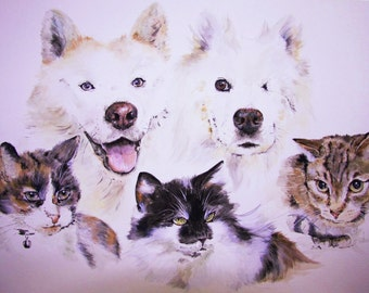 Custom Quintuple Pet Portrait,  original watercolour painted from your photos, made to order