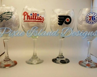Set of 4 sports team logo wine glasses, football, baseball, hockey, basketball