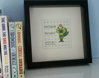 Personalised *My Daddy My Hero* Framed Print - Birthday / Father's Day present