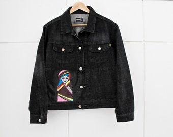 handmade//jeans jacket-Russian Doll