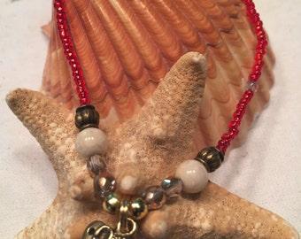 Tribal Seed Bead Stretch Bracelet, Elephant Charm