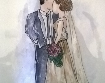 Colored Bride and Groom Silhouette
