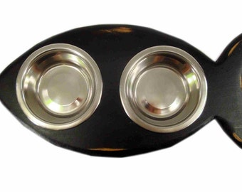 Elevated, Raised Cat Feeding Station FISH Shaped Diner for Cats 1/2 Pint Stainless Steel Bowls Handcrafted Wood - Antique Black