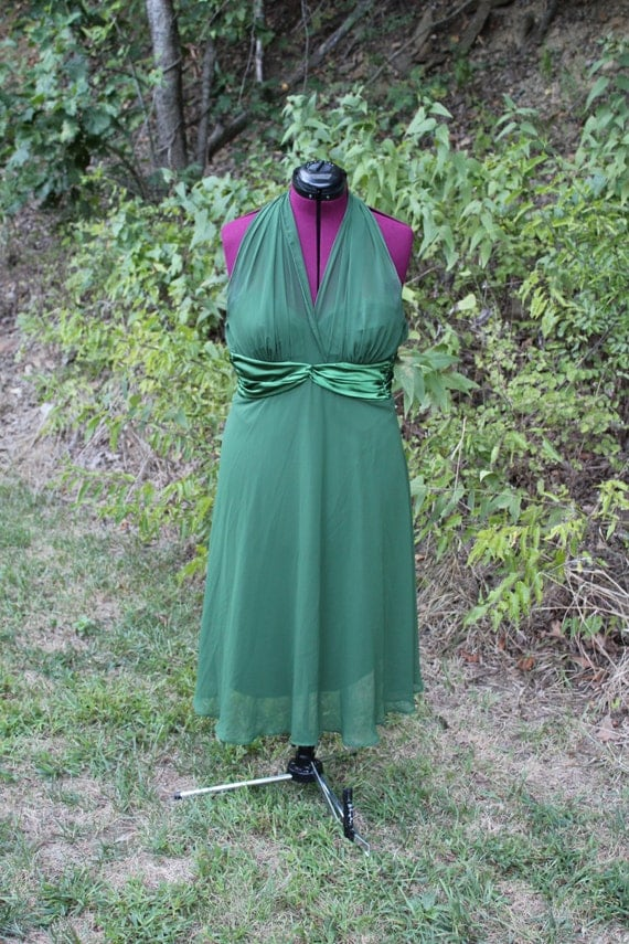 Holiday Green Cocktail Dress, Size 10, Marilyn Monroe Style, Retro Dress