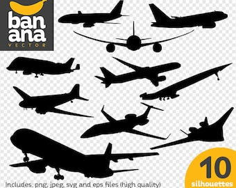 SALE Planes Silhouettes png jpg svg eps files high resolution BV-VE-0010