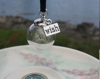 Wish Pendant//Dandelion Necklace//Dandelion Pendant//Glass Pendant//Wish Necklace//Wish Jewelry//Dandelion Jewelry//Wish Choker/Vegan Choker