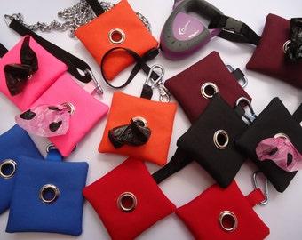 Showerproof - Dog Poop/ Pook/ Poo Bag Holder / Dispenser- Flexi , Thick Handled Fitting or Standard Snap Hook- 6 Colours available
