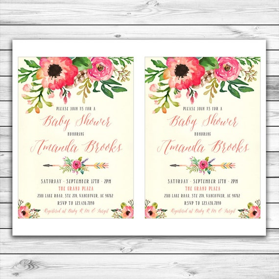 floral baby shower invitation unique baby shower invitation, Baby shower invitations