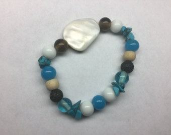 Essential Oil Stone Bracelet - Turquoise & Howlite - one size fits all