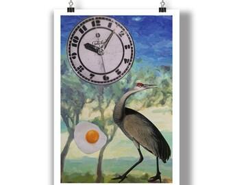 Collage Clock Bird Egg