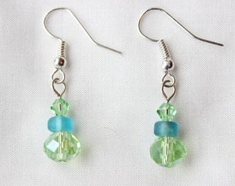 Sage Green, Robin's Egg Blue and Silver Earrings