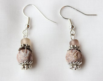 Pink/Peach Colored Carved Stone Globes Silver Earrings