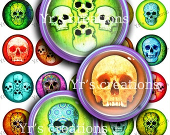 FUNKY SKULLS Printable Digital Collage Sheet 1.5 inch - Skull images for Pendants, magnets, mixed media, stickers and artwork