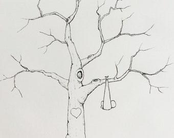 Baby Shower Fingerprint Tree (u003c40 Guests)