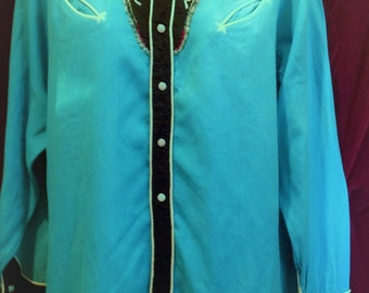Vintage 1950s Western Shirt Rayon  / 1950s Ranch wear Shirt / Embroidered Blue, Black Western Shirt