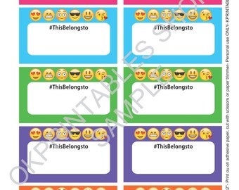 Emoji- EMoticons labels for School supplies Labels printable - Set of 10- printable labels - FUN school sticker- #thisbelongsto