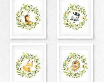 Instant Download Woodland Nursery Print Set of 4 | Boho Animal Wall Art | Bohemian Nursery Wall Decor Printable | Fox Deer Raccoon Hedgehog