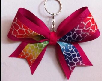 Cheer bow keychain - fuschia giraffe